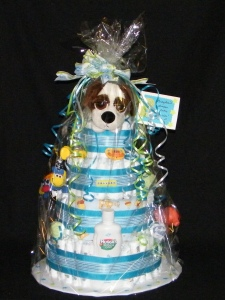 """""""Cake"""" for a boy with a Russ puppy topper"""